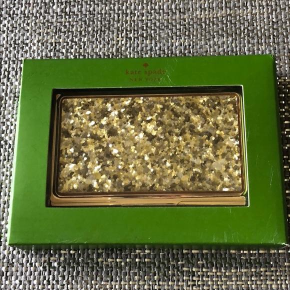 Kate spade bags gold glitter business card holder poshmark kate spade gold glitter business card holder colourmoves